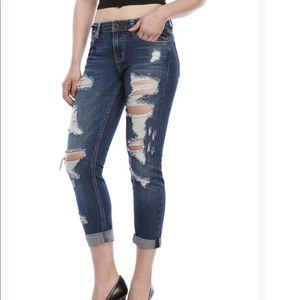 Eunina Sexy Boyfriend Crop Jeans